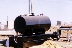 Solvent and debris collection tank at the receiving site