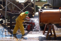 On site or yard cleaning of heat exchangers