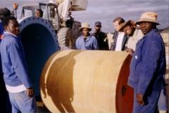 Loading the 1.2m diameter foam-swab tool